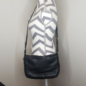 Fossil Black Pebbled Leather Preston Flap Bag